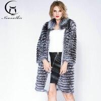 2018 Banco de Areia Fur Por Atacado de Couro Genuíno Real Fox Fur Sliver Fox Fur Mulheres Casacos Feminino cor natural Real da Pele De Fox