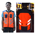 Fluorescent Yellow& Orange Reflejo Jacket with Silver Polyester Reflective Strip and   PVC Transparent Pocket  for Night Safety