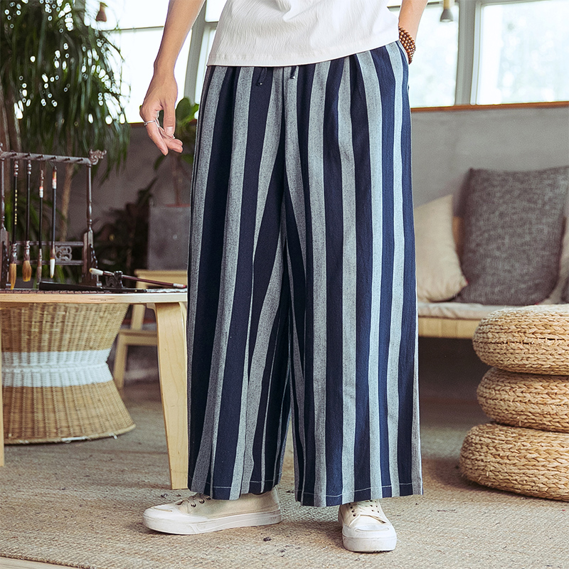 Male Streetwear Fashion Loose Harem Pant Men Straight Casual Wide Leg Pants Kimono Stripe Skirt Trousers