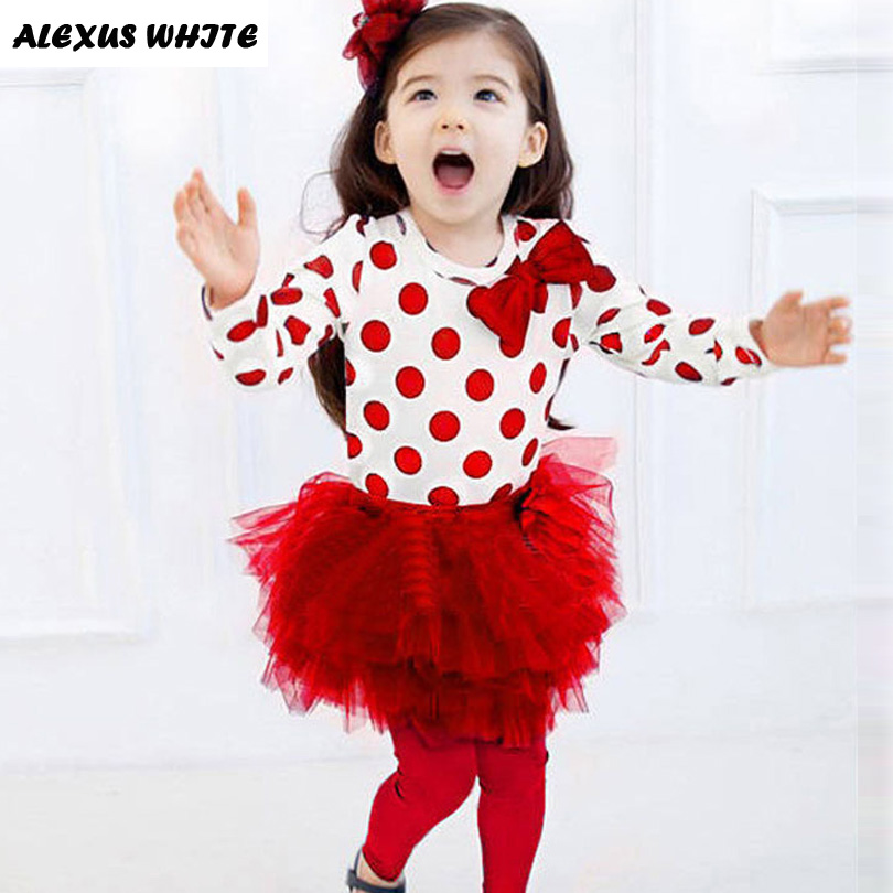Children Clothes 2017 Autumn Fashion Polka Dot Skirt Suit Girls' Cotton Two Piece Clothing Sets Girl Tops + Skirts Leggings кидз напиток с черносливом 5г 9 саше