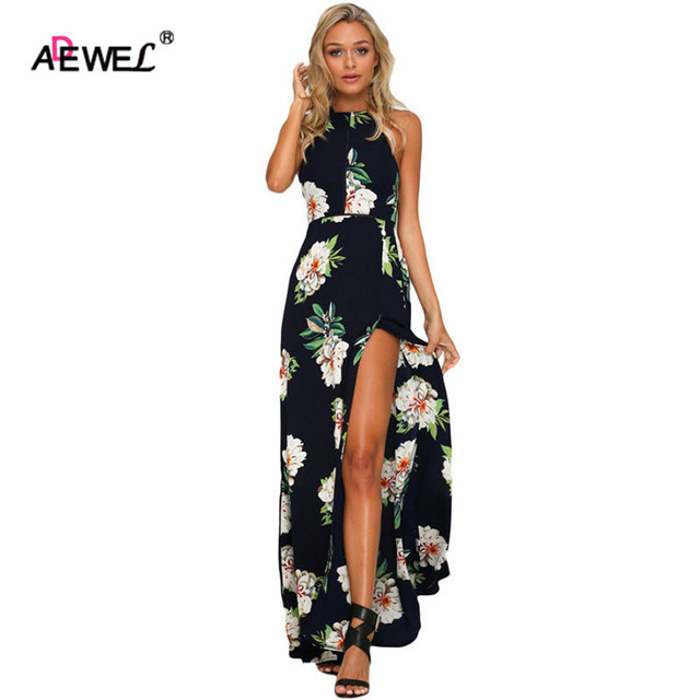 Adewel Summer Casual Floral Print Women Black Maxi Dress High Split