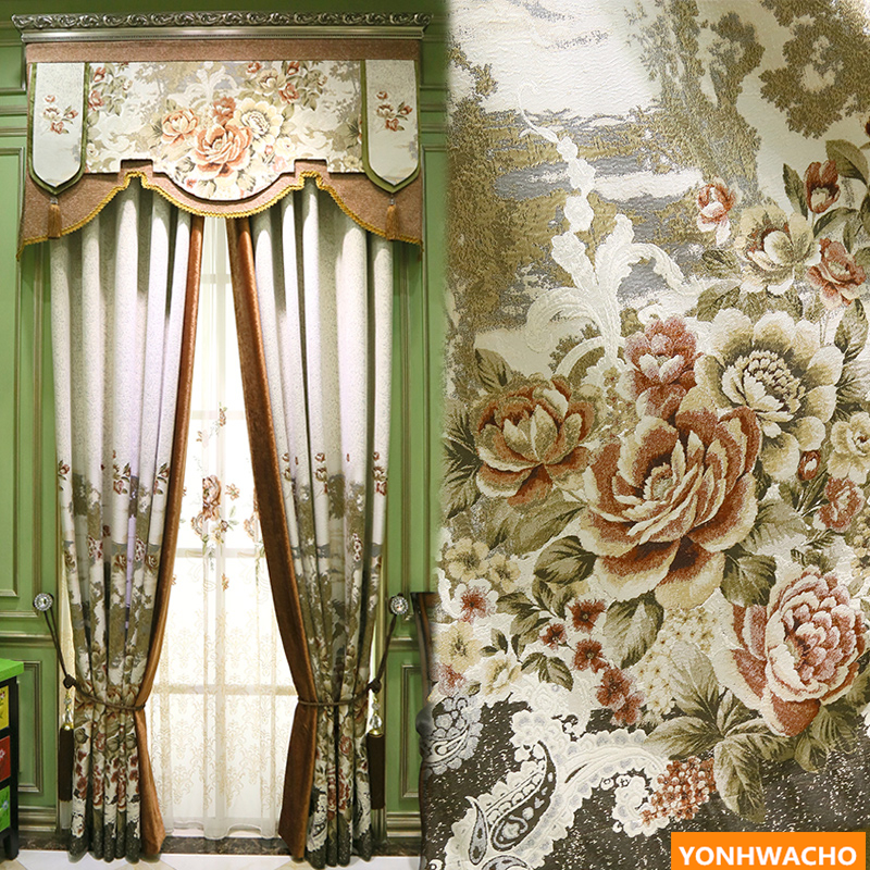 Custom curtains upscale yarn-dyed Classical rainforest flower luxury pastoral America cloth blackout curtain tulle valance N631 window valance
