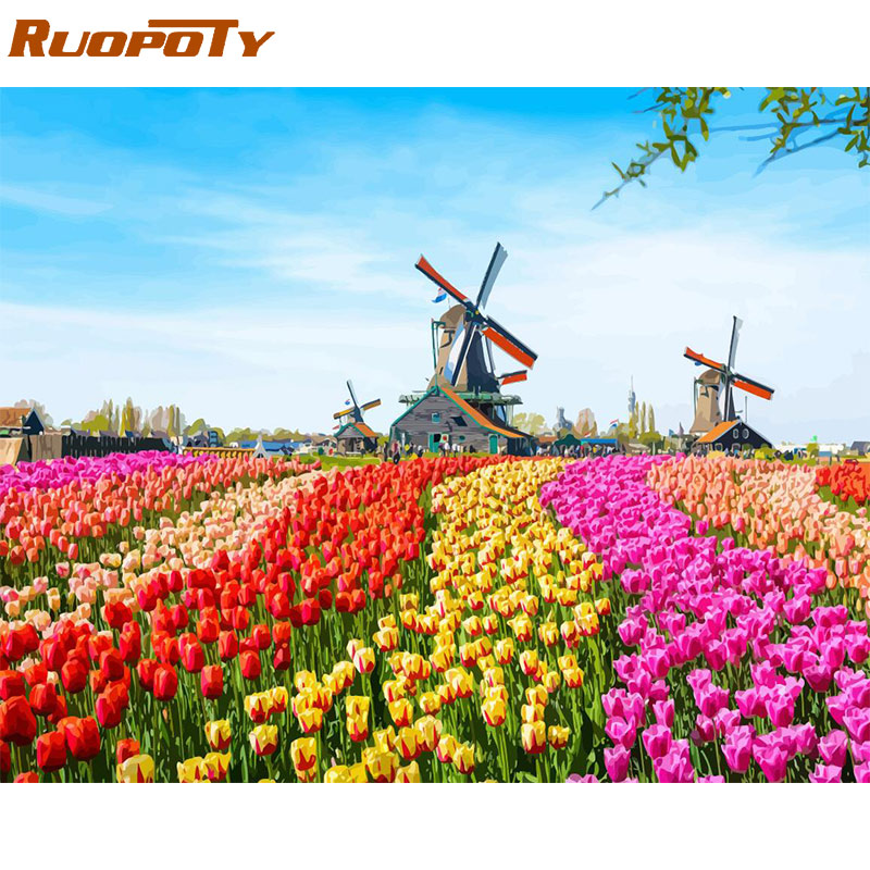 RUOPOTY Frame Diy Painting By Numbers Windmill Flowers Kit Acrylic Paint By Numbers Canvas Painting For Home Decors Unique Gift