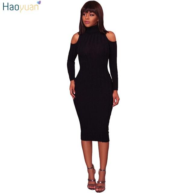 82e680b2aec HAOYUAN водолазка ребристые трикотажные Платья-свитеры женская одежда осень-зима  платье с открытыми плечами