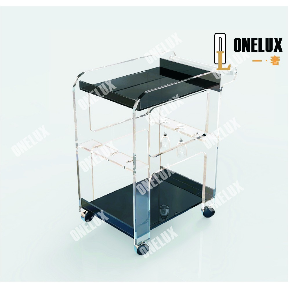 acrylic bar cart / acrylic hotel trolley / acrylic cart with wine bottle holders gold hotel wine