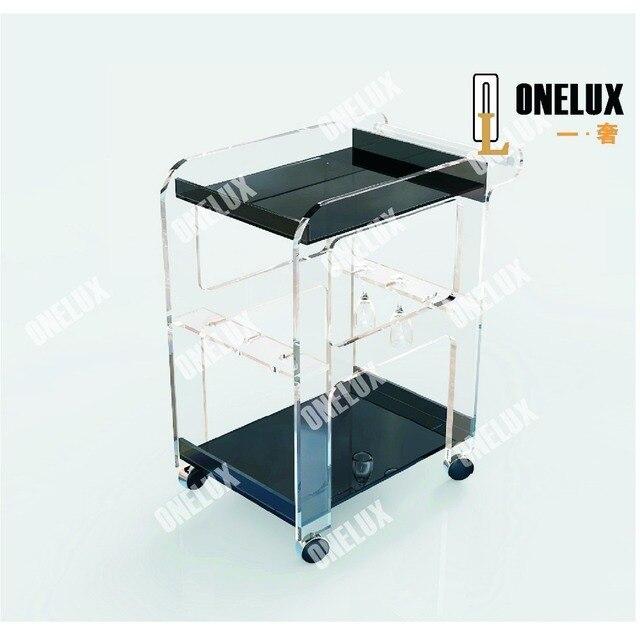 acrylic bar cart / acrylic hotel trolley / acrylic cart with wine bottle holders