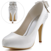 Women Ivory High Heel Closed Toe Platform Rhinestone Pumps Satin Bride Evening Party  Wedding Bridal Shoes EP11034 Beige