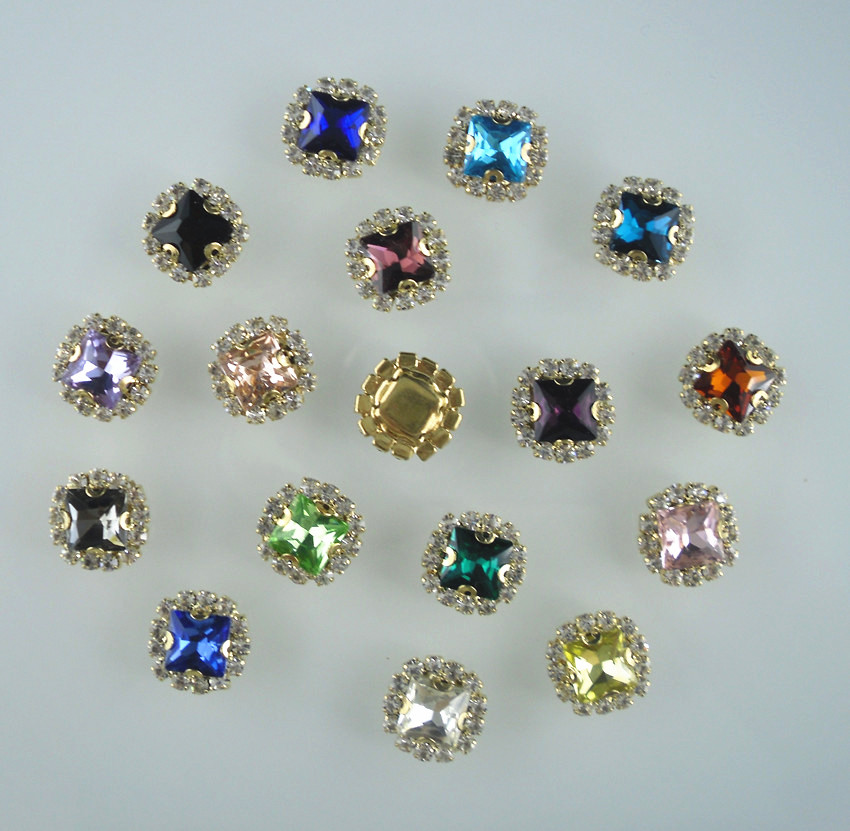 Aliexpress Com Buy 1440pcs Gold Bottom Crystal Clear: Bottom Hole Square Faceted 8mm Glass Crystal Around Clear