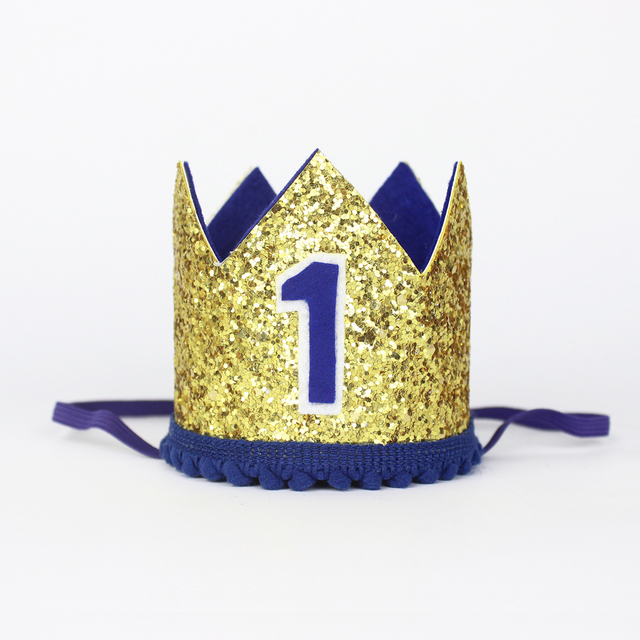 First Birthday Hat 1st Boy Crown Boys Party Decorations One Year Old Glitter Cake Gold