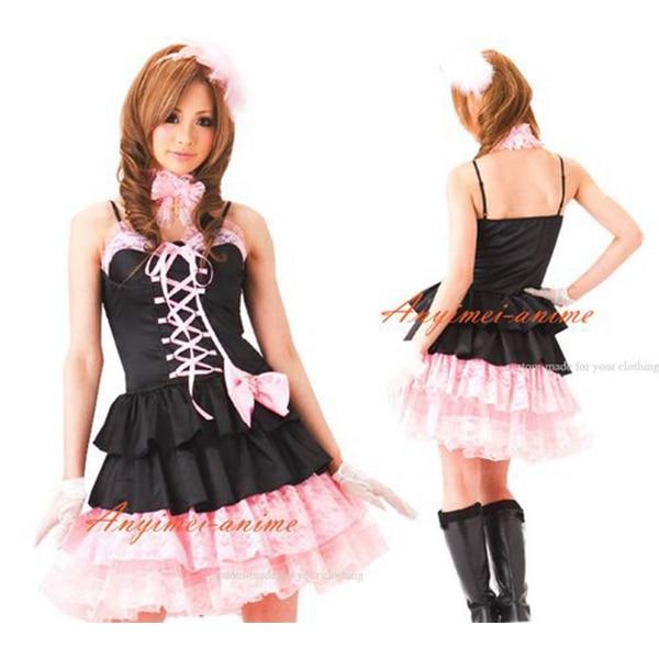 Gothic Lolita Punk Süße Mode Rosa Und Schwarz Ballett Kleid Cosplay Kostüm  nach maß 101ad6660a