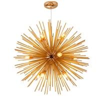 Golden Dandelion Metal Designer Pendant Light Stainless Steel Bayonet Geometric Ball Pendant Lamp Hanging Lamps