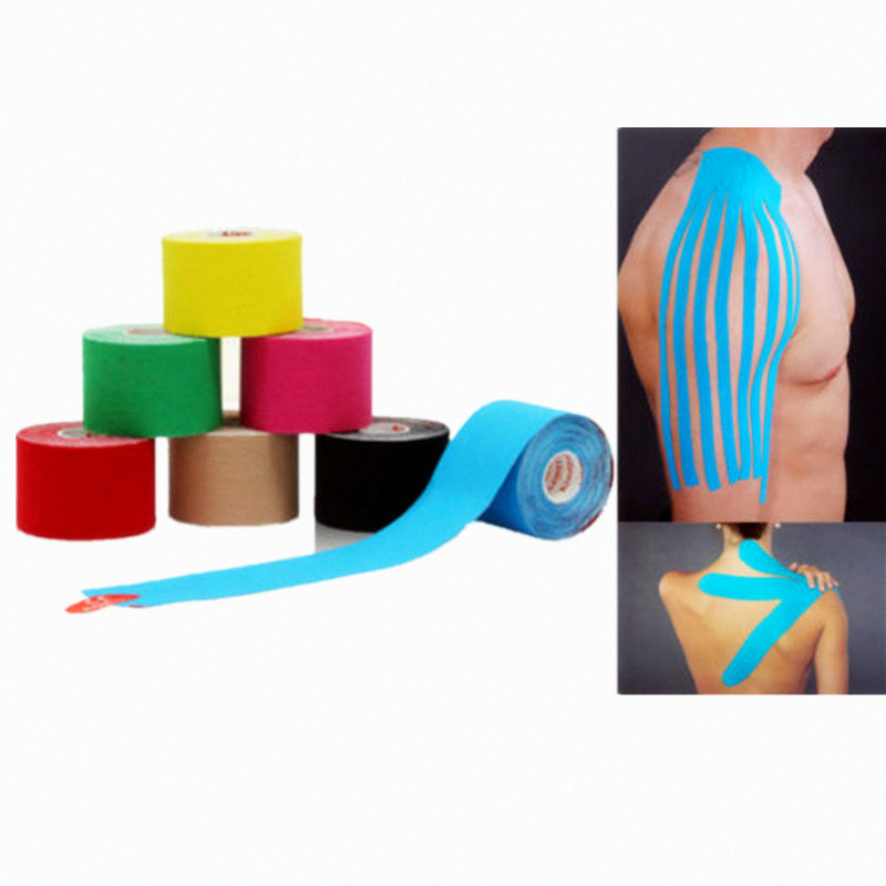 50pcs lot 5cm x 5m Muscle Tape Sports Kinesiology Cotton Elastic Adhesive Muscle Bandage Care Physio