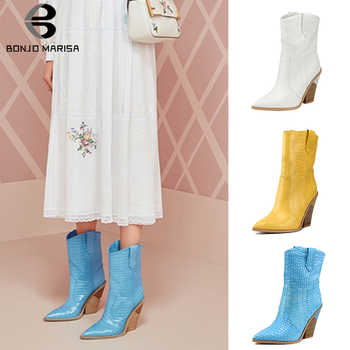BONJOMARISA 2019 Spring Autumn Brand Designer Women Western Boots Plus Size 33-46 High Heels Ladies Runway Women Shoes Woman - DISCOUNT ITEM  35% OFF All Category