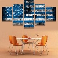 5 개 디트로이트 라이온스 국기 로고 스포츠 소년 룸 데코 그림 캔버스 홈 인쇄 Liveing 룸 데코 벽 아트 장식 포스