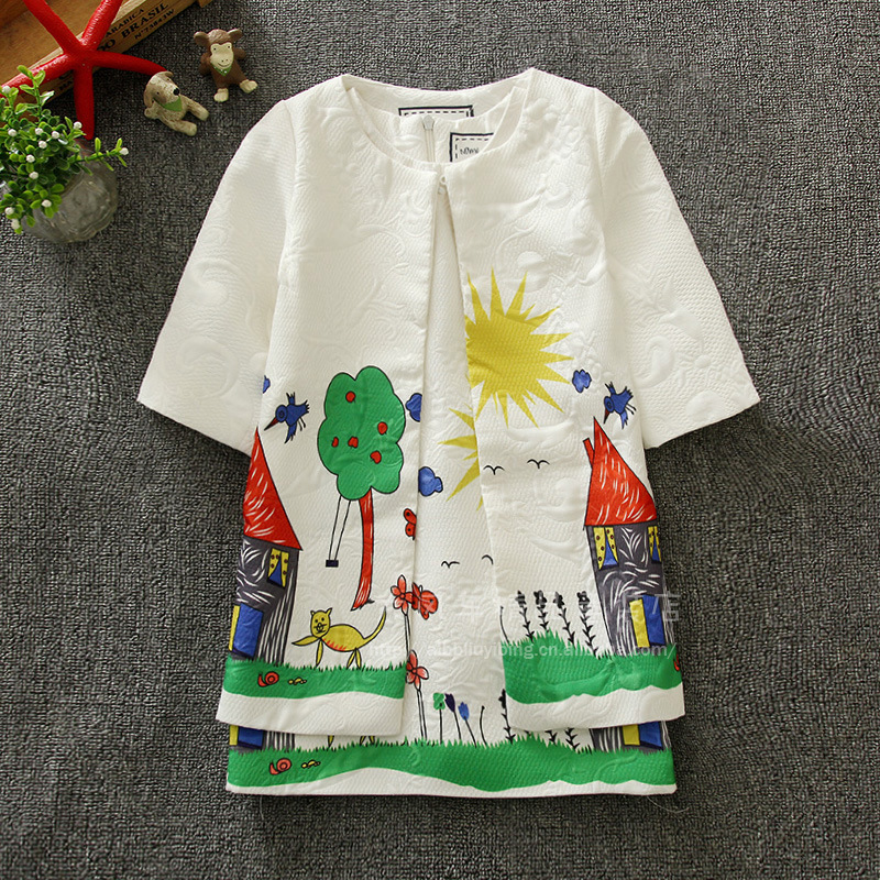 ФОТО children clothing set kids girl clothes 2016 sets print kids tracksuit(jacket+dress) girls clothing sets t23
