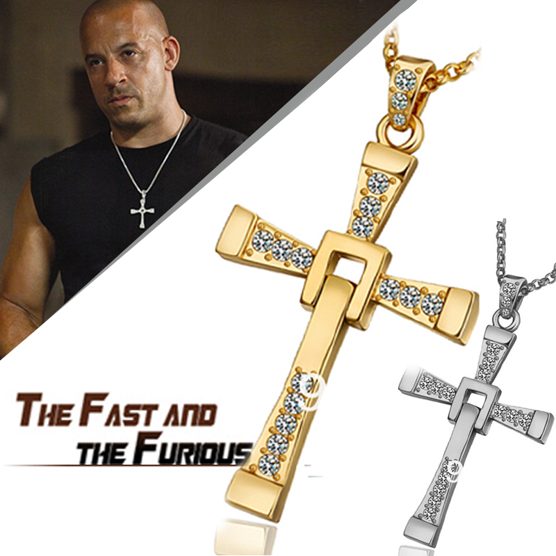 4style Top The Fast and the Furious Celebrity Vin Diesel Items Gold Crystal Jesus Cross Pendant Necklaces Men Jewelry