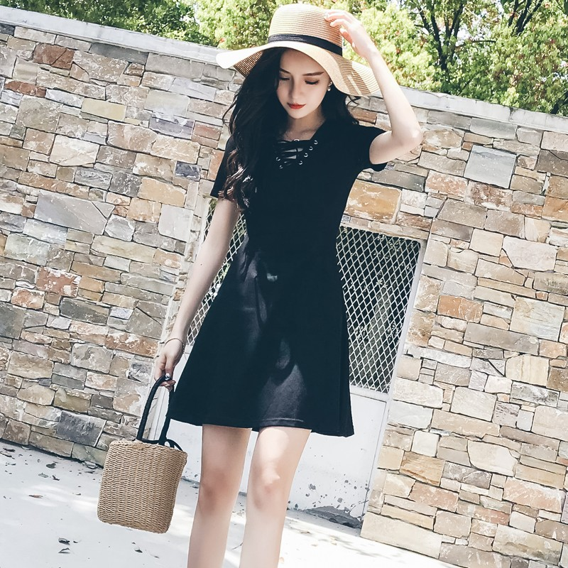 Video video black V neck 2018 New Fashion Summer Women Dress Sexy Sleeveless Dress Femal ...