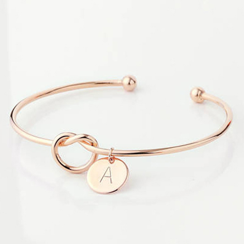 Fashion Name Female Jewelry Initial Alloy Letter Bracelets For Women Girls Rose Gold/Silver Bow-knot Charm Bracelet Dropshipping 7