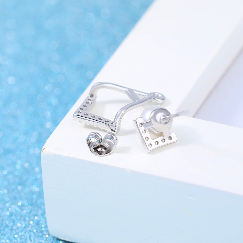 100 925 sterling silver fashion imitation pearl crystal ladies stud earrings female jewelry women birthday gift wholesale in Stud Earrings from Jewelry Accessories