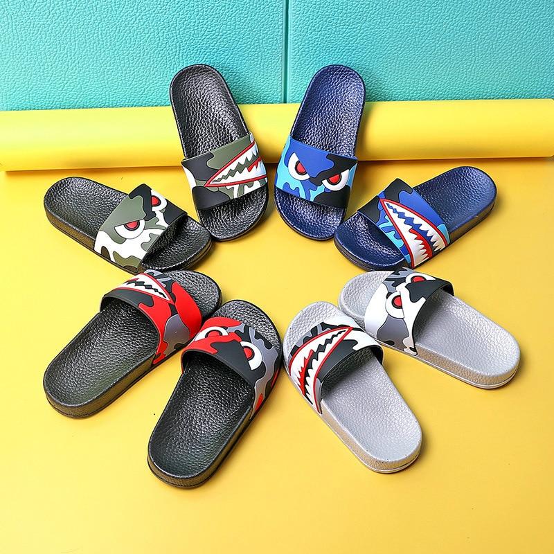 Children Unisex Beach Flip Flops Shark Kids Slippers For Boys Sandals Summer Baby Casual Bathroom Non-slip Flat Shoes
