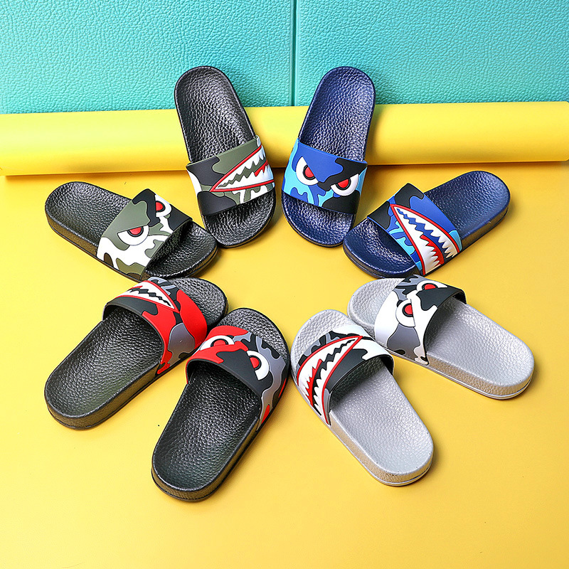 Children Unisex Beach Flip Flops Shark Kids Slippers for Boys Sandals Summer Baby Casual Bathroom Non-slip Flat Shoes TX10
