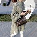 Новых женщин весна осень зима сгущает водолазка пуловеры вязаные свитера женщины длинные свободные свитера платья