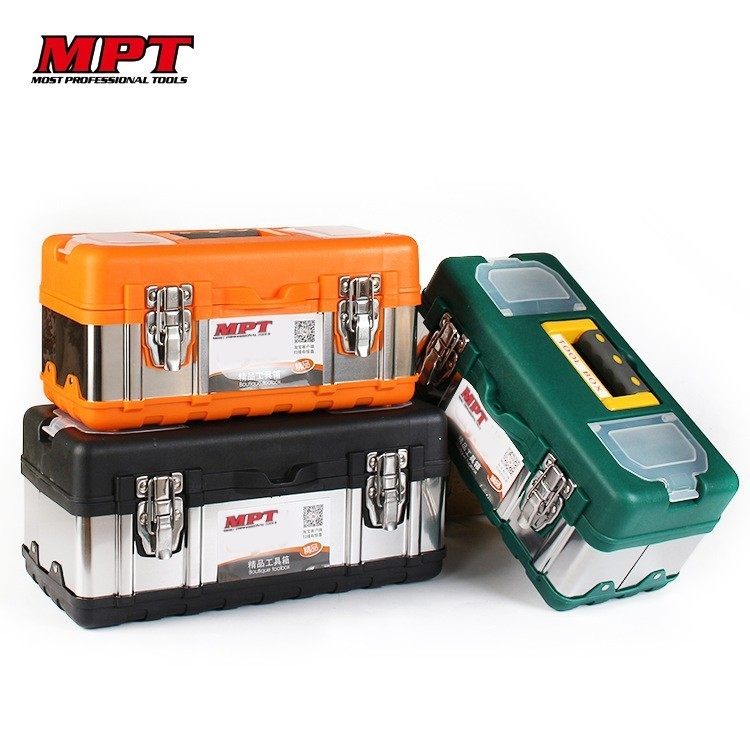 Household Portable Large Plastic Stainless Steel Toolbox Worker Tools Box Tool Organizer Hardware Auto Car Repair Electrician