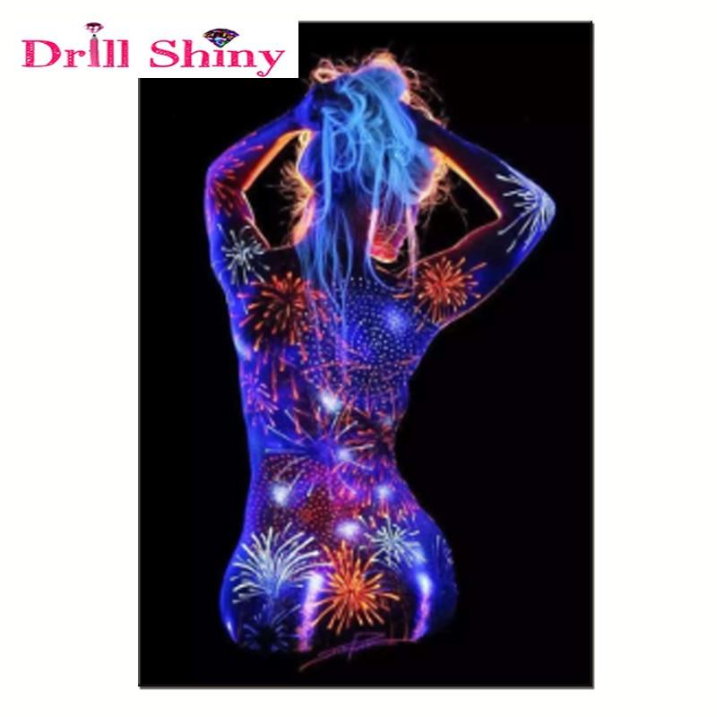 Stërvitje me shkëlqim 5D DIY Diamond Painting Light Body Body Full Mozaiku krijues i punuar me dorë Diamanti qëndisje Portret Kryq Kryqi