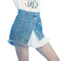 Buenos Ninos Women Single Breasted Mini Jeans Skirts High Waist Irregular Bottom All Match Skirt 40