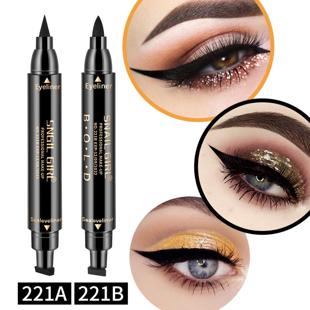 1 Pcs Double-headed Seal Black Eyeliner Triangle Seal Eyeliner 2-in-1 Waterproof Eyes Make Up With Eyeliner Pen Eye Liner Stamp Mild And Mellow