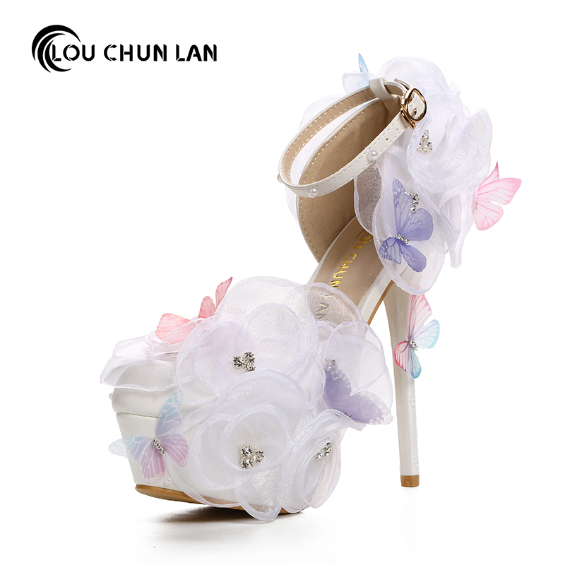 Pumps White lace flower rhinestone bridal shoes butterfly flying pointed toe ultra high heels wedding shoes belt female sandals pointed toe white pearl rhinestone wedding shoes 7cm 9cm thin heels shoes fashion bridal shoes female party sandals