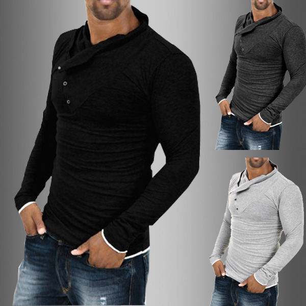 Mens Casual Slim Fit Long Sleeve Muscle Shirt Button Fashion T Shirts Tee Tops