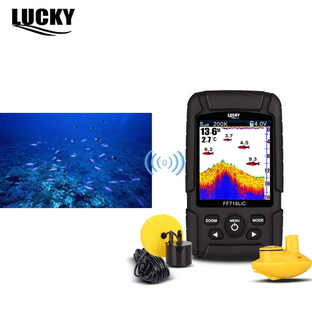 LUCKY FF718LiCD LCD Portable Fish Finder 200KHz/83KHz Dual Sonar 200kHz Frequency 328ft/100m Detection Depth Fishfinder Detector lucky ff718lic portable 200khz 83khz dual frequency fish finder waterproof depth echo sounder wired transducer color lcd c3