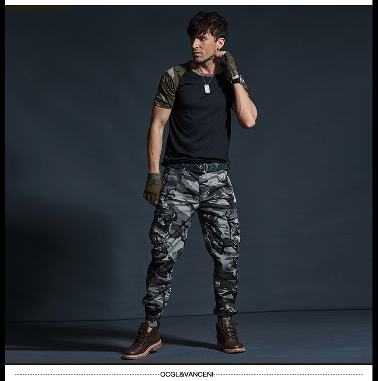 High Quality Khaki Casual Pants Men Military Tactical Joggers Camouflage Cargo Pants Multi-Pocket Fashions Black Army Trousers 63