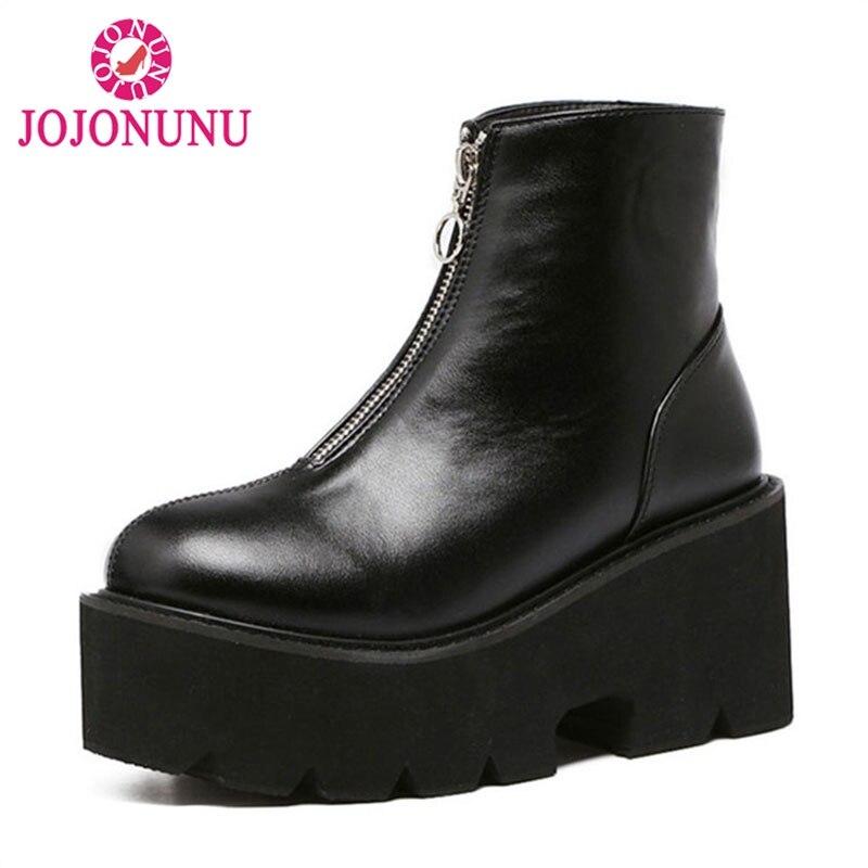 JOJONUNUSize 33-43 Sexy Women Platform High Heel Boots Motorcycle Zipper Ankle Thick Heels Boots Punk Warm Shoes Women Footwears