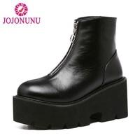 JOJONUNUSize 33 43 Sexy Women Platform High Heel Boots Motorcycle Zipper Ankle Thick Heels Boots Punk Warm Shoes Women Footwears