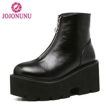 Купить с кэшбэком JOJONUNUSize 33-43 Women Platform High Heel Boots Motorcycle Zipper Ankle Thick Bottom Boots Punk Warm Shoes Women Footwears