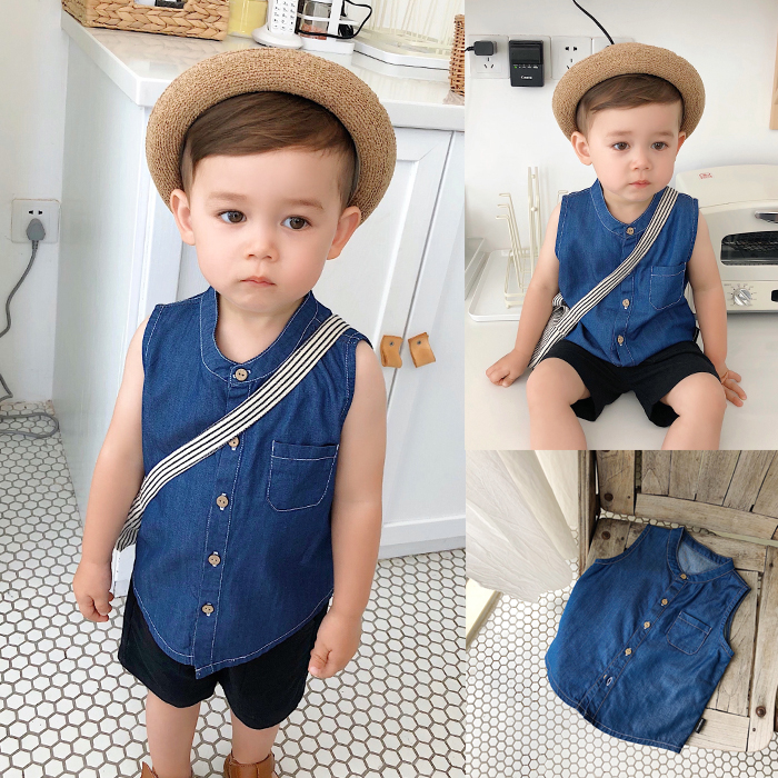 Children's clothing boy Tencel denim sleeveless shirt summer wild children's denim shirt baby coat red longline sleeveless check shirt with split hem