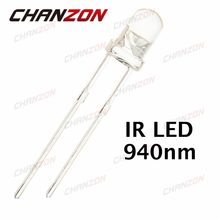 100 stks 3mm IR LED 940nm 20mA DC 1.2-1.5 v 3mm Transparante Infrarood 940 nm LED light Emitting Diode Lamp Water Clear Lamp 2 Pins(China)
