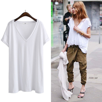 Summer Europe And America Plus Size Women S Clothing Loose V Neck Short Sleeve Solid Color