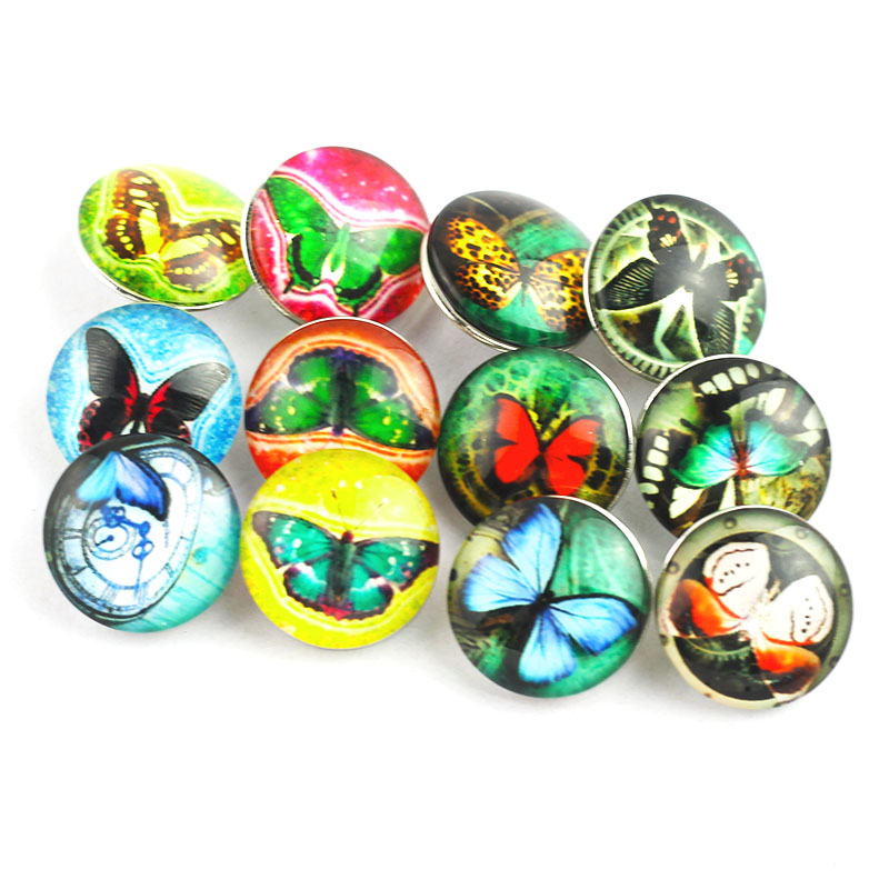 Bo Bo world 10PCS/lot 18mm butterfly glass snap buttons for women's bracelets or necklaces pendants popular jewelry buttons P33 image