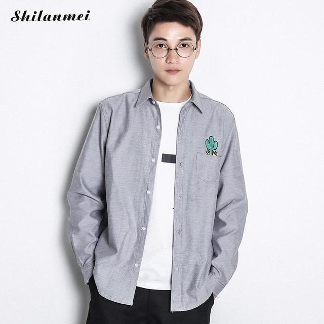 19cc2596e Masculina otoño Camisa Blanca de Manga Larga Slim Fit Hombres Social camisas  Grises hombres Marca Camisa
