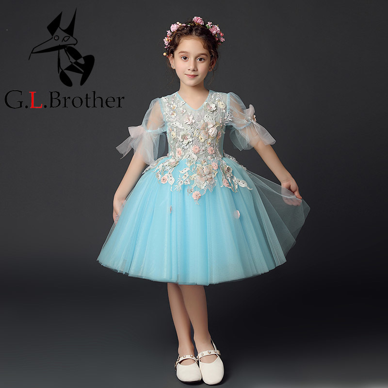 New Appliques Kids Pageant Evening Gowns Ball Gown Flower Girl Dresses For Wedding First Communion Dresses For Girls S264