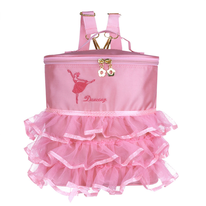 Girls Ballet Dance Bags Embroidered Ballerina Dancing Backpacks Tiered Ruffled Mesh Bag Backpack with Plastic/Metal Clasp