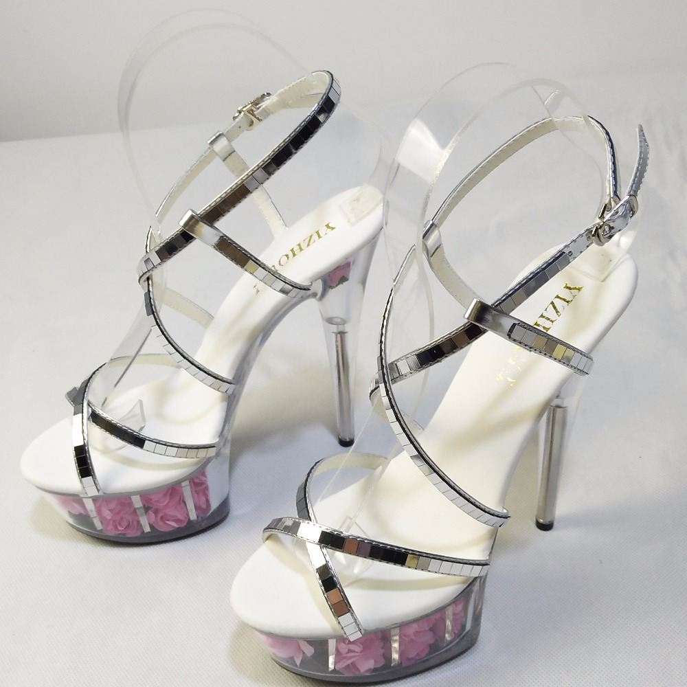 Zapatos Alto Paillette Sandalias Sexy Tacón Pulgadas Rose Cm Cristal Novia Femeninas Rosado 6 Crystal De rojo Flor 15 ftfz4q