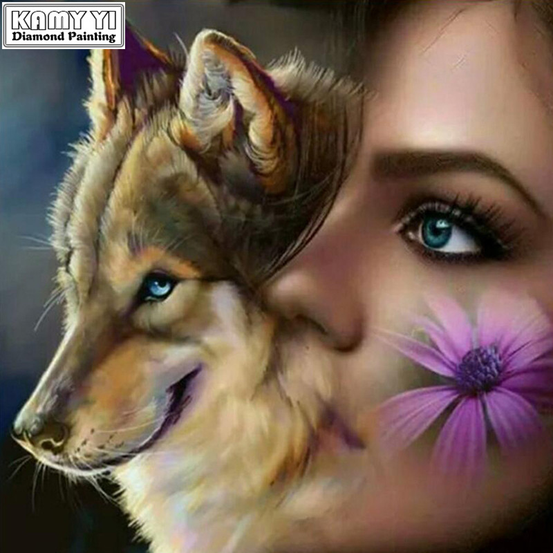 New Full Diamond 5D DIY Diamond Painting Wolf and gi Embroidery Cross Stitch Rhinestone Mosaic Painting Home Decor Gift