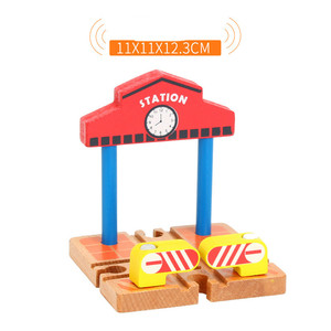 Image 2 - EDWONE  One Wood Railway Gas Station Clock Police Train Car Slot Railway Accessories Original Toy Kids Gifts Fit   BIRO