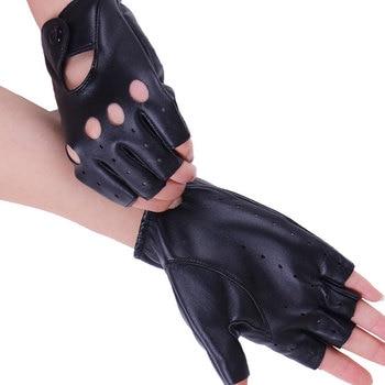 1 pair النساء أزياء بو الجلود الأسود نصف اصبع قفازات كول القلب الجوف أصابع قفازات قفازات الإناث لاستعادة لياقته # 40 1
