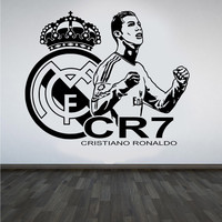Art Decor Design 3d Poster Soccer Star CRISTIANO RONALDO Vinyl Wall Sticker Football Player Wall Decals