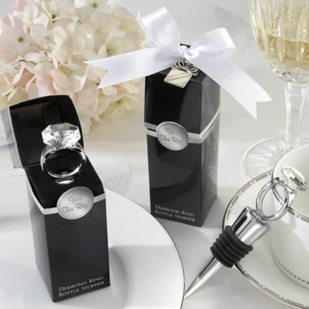 With This Ring Chrome Diamond Ring Bottle Stopper Red Wine Crystal ...